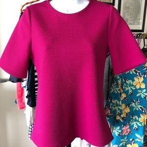 Pink Zip Back Textured Top